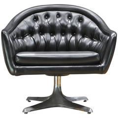 1960s Chromcraft Star Trek Sculpta Black Tufted Swivel Lounge Chair