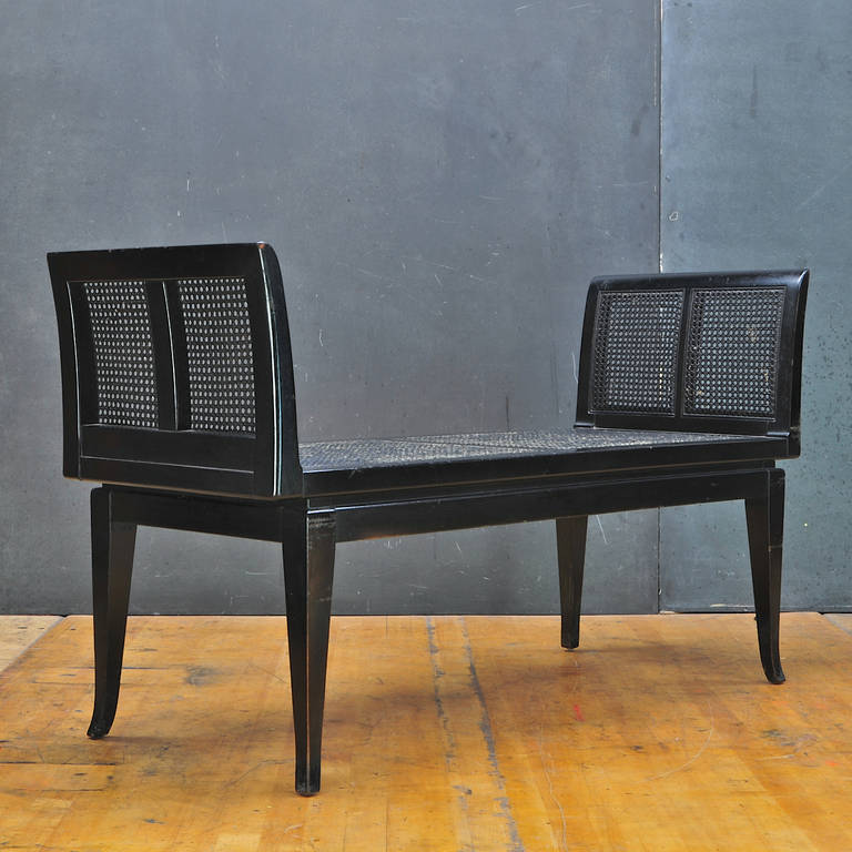 Black Cane Bench Settee Style Of Edward Wormley Dunbar Parzinger At 1stdibs
