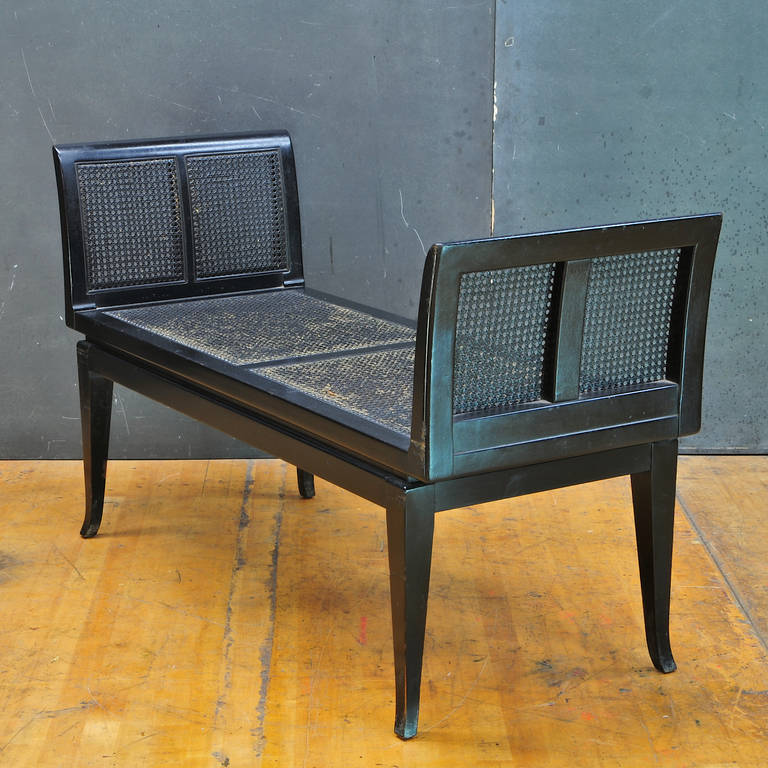 1960s Black Cane Bench Settee For Sale At 1stdibs