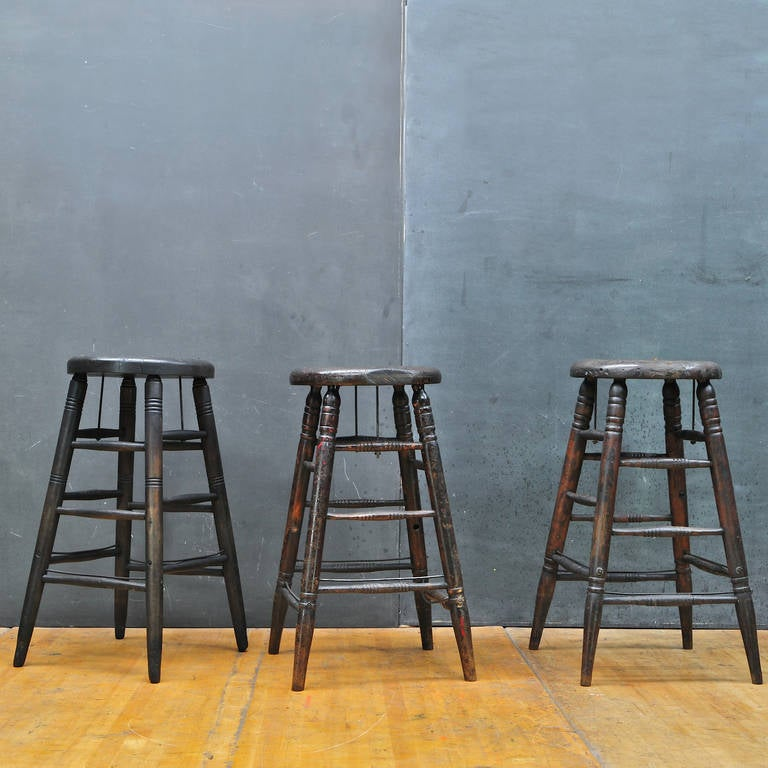 Early Century Lucas Bros Mercantile Clerks Stools Set Of