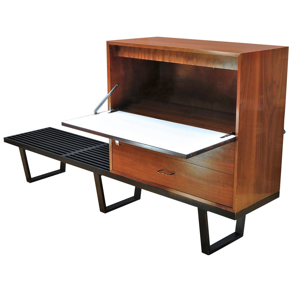 George Nelson Herman Miller Long Bench Secretary Writing Desk At 1stdibs