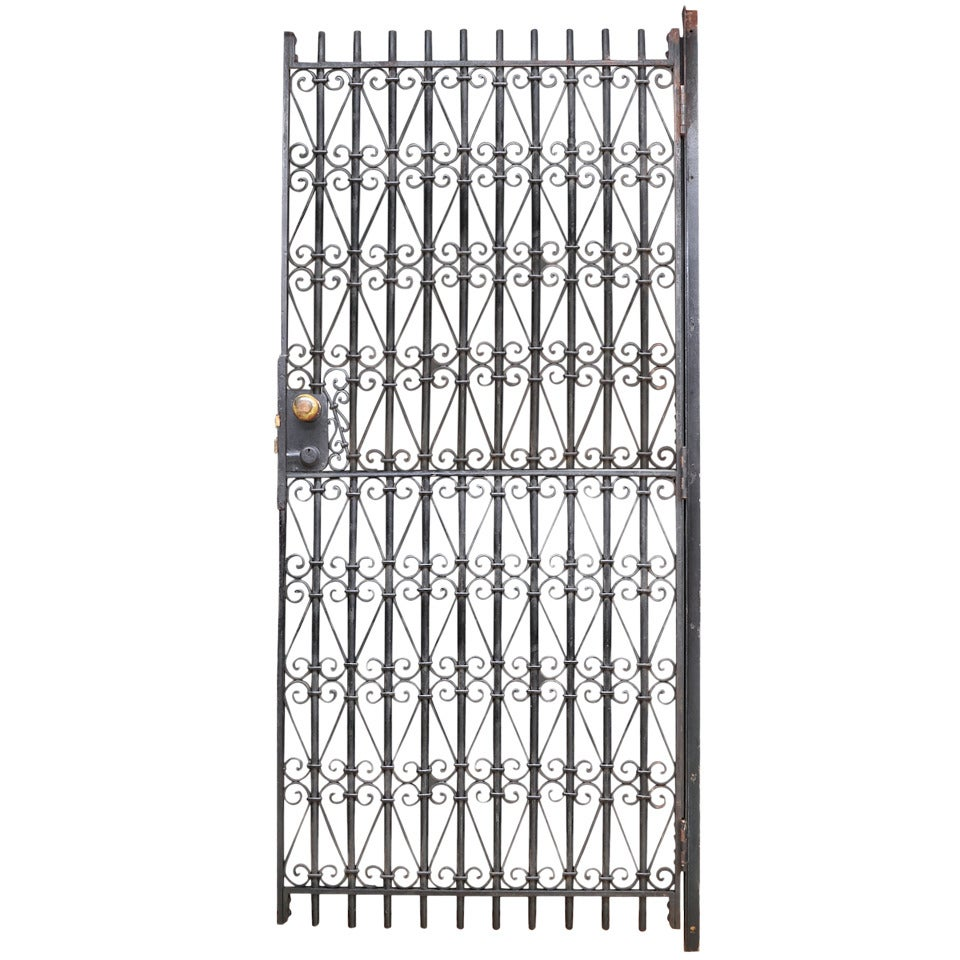 Vintage Industrial Wrought Iron Metal Arts Architectural Garden Gate Door