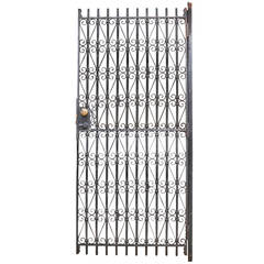 Vintage Industrial Wrought Iron Metal Arts Architectural Garden Gate Door