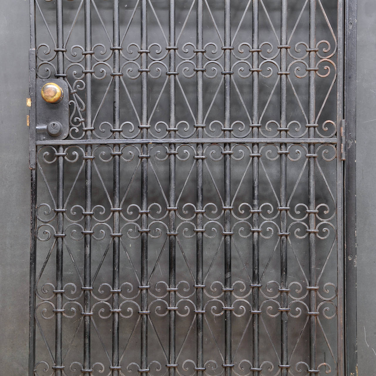 Late Victorian Vintage Industrial Wrought Iron Metal Arts Architectural Garden Gate Door For Sale