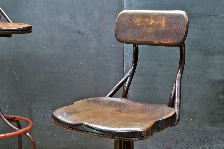 1930s vintage industrial westinghouse factory bar stool chairs pair