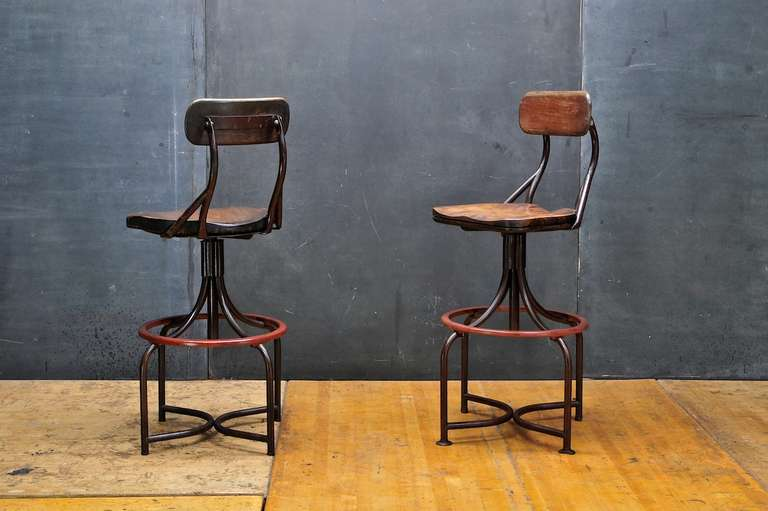 1930 39 s vintage industrial westinghouse factory bar stool chairs pair at 1stdibs. Black Bedroom Furniture Sets. Home Design Ideas