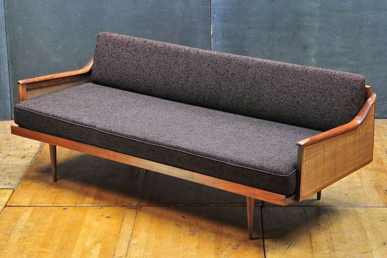 Daybed Vintage vintage 1960's mid-century craftsman walnut and cane daybed at 1stdibs