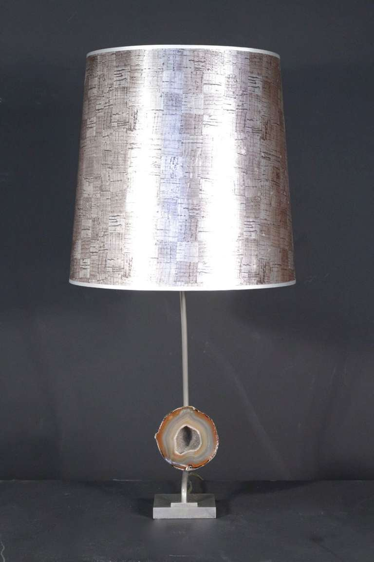 1970's table lamp by Willy Daro in bronze and nickel palted brass. Semi-precious stone