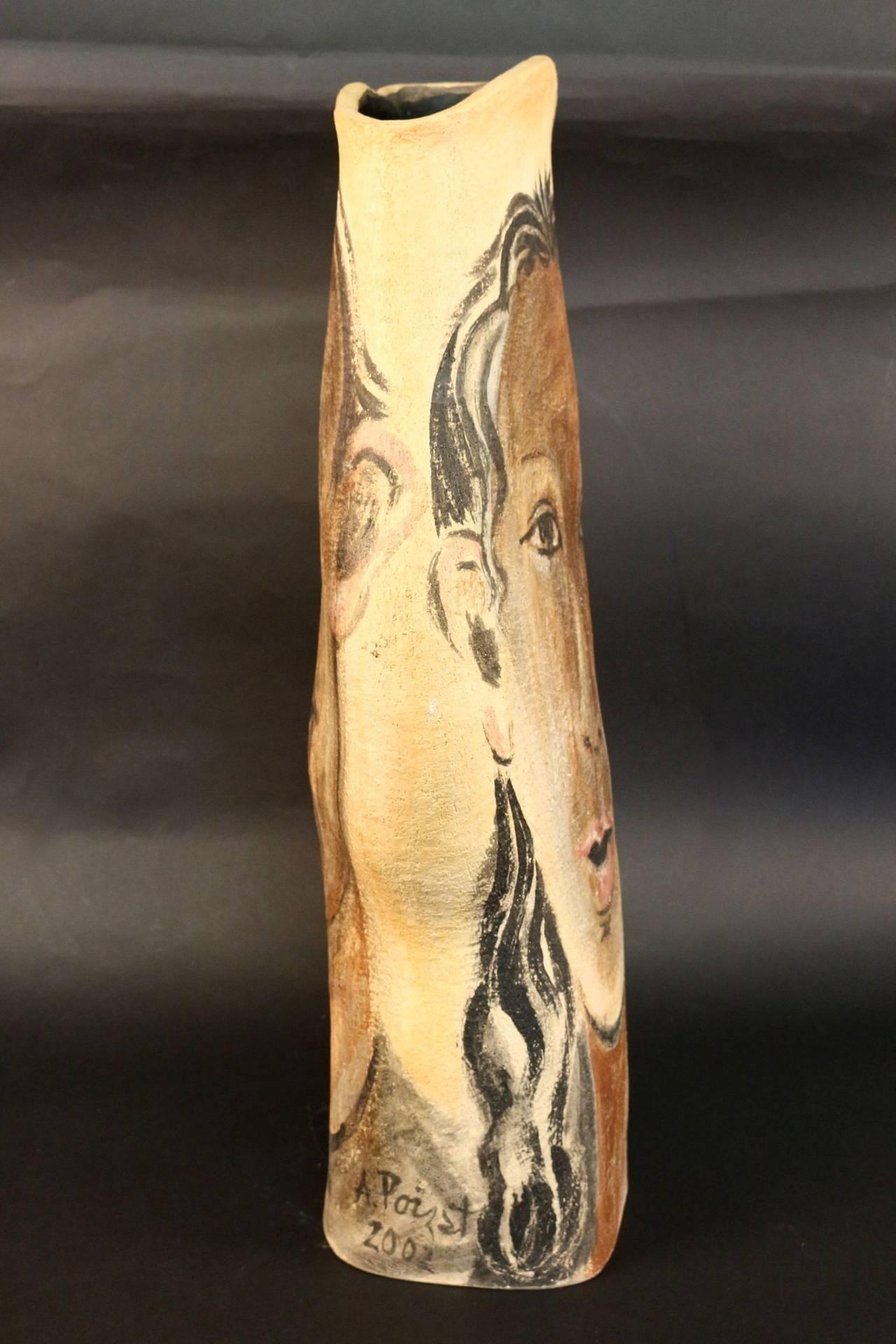Earthenware Umbrella Holder or Large Vase Signed Albert Poizat, 2002 For Sale