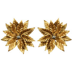 Large Pair of 1960s 'Foliage' Sconces by Maison FlorArt