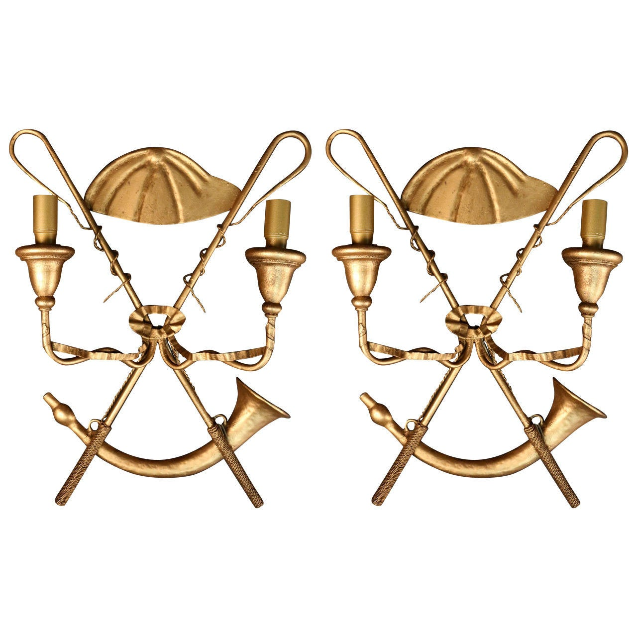 Pair of 1970s 'Hunting Horn' Sconces by Miason FlorArt