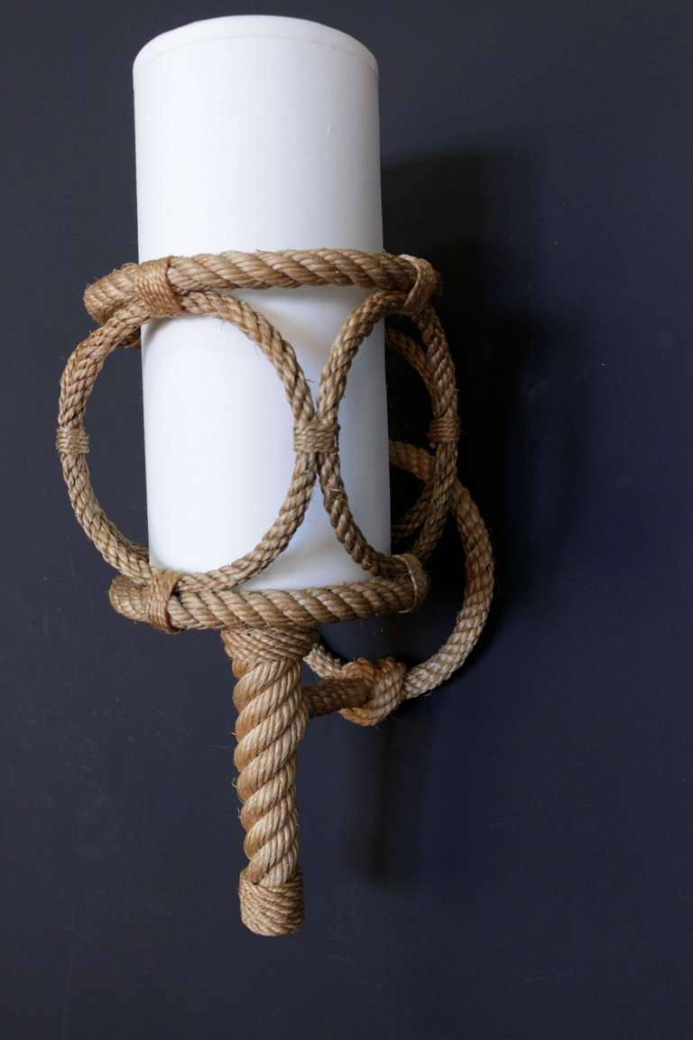 Pair of 1950 s Rope Sconces by Audoux Minet at 1stdibs