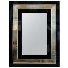 1970s Plexiglass Mirror Outlined with Brass