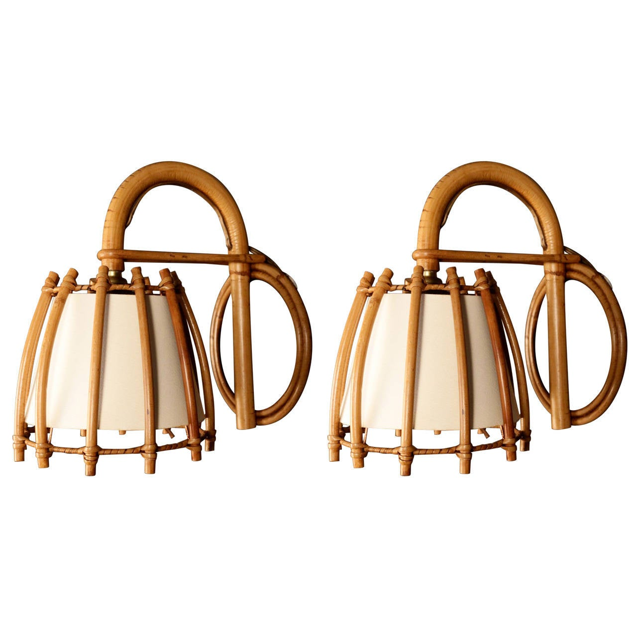 Pair of Rattan Sconces Attributed to Louis Sognot For Sale