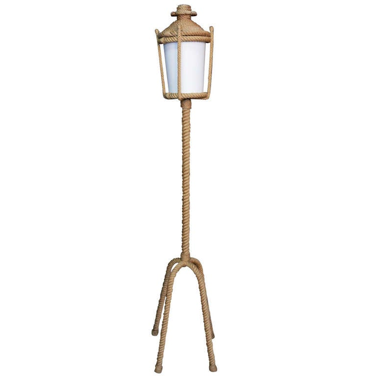 195039s rope floor lamp by audoux minet for sale at 1stdibs for Floor lamp with rope stand