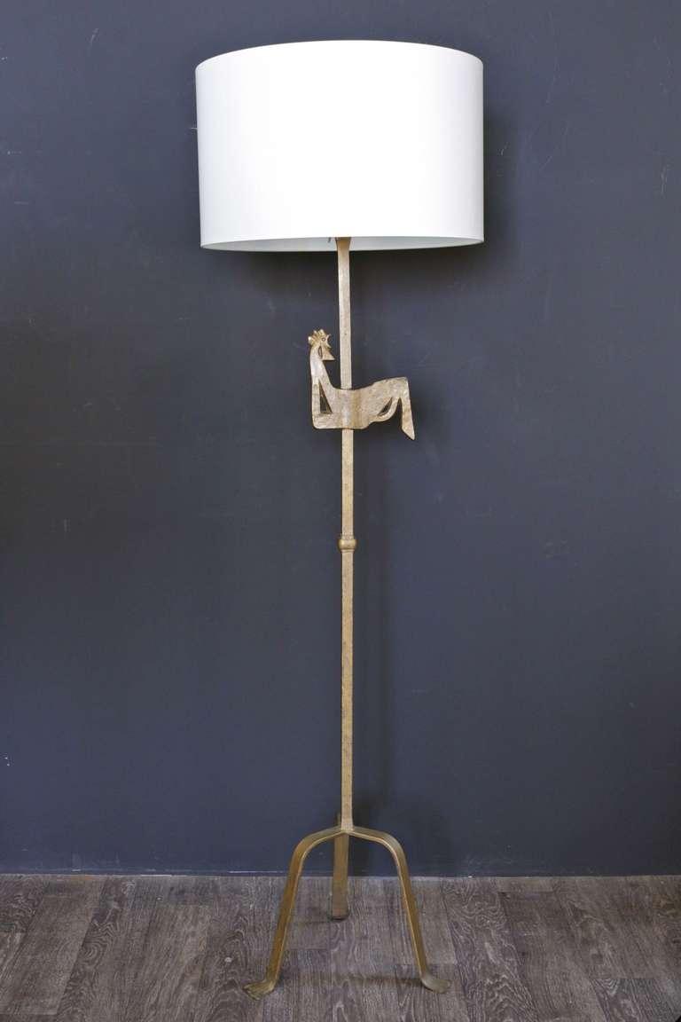 1940s gilded wrought iron sculpture floor lamp at 1stdibs. Black Bedroom Furniture Sets. Home Design Ideas