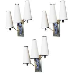 Set of Three 1950s Sitting Room Sconces from the Lutetia Hotel Paris