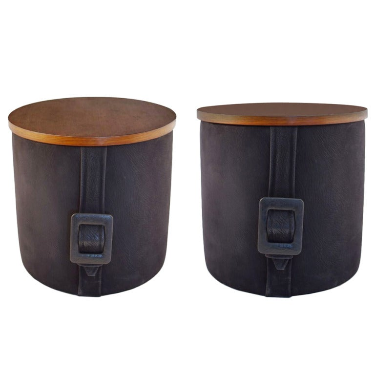 Pair Of Poufs Quot Buckle Belt Quot By Herm 232 S House At 1stdibs