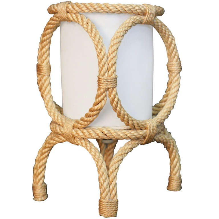 1950's Rope Lantern Table Lamp by Adrien Audoux and Frida Minet