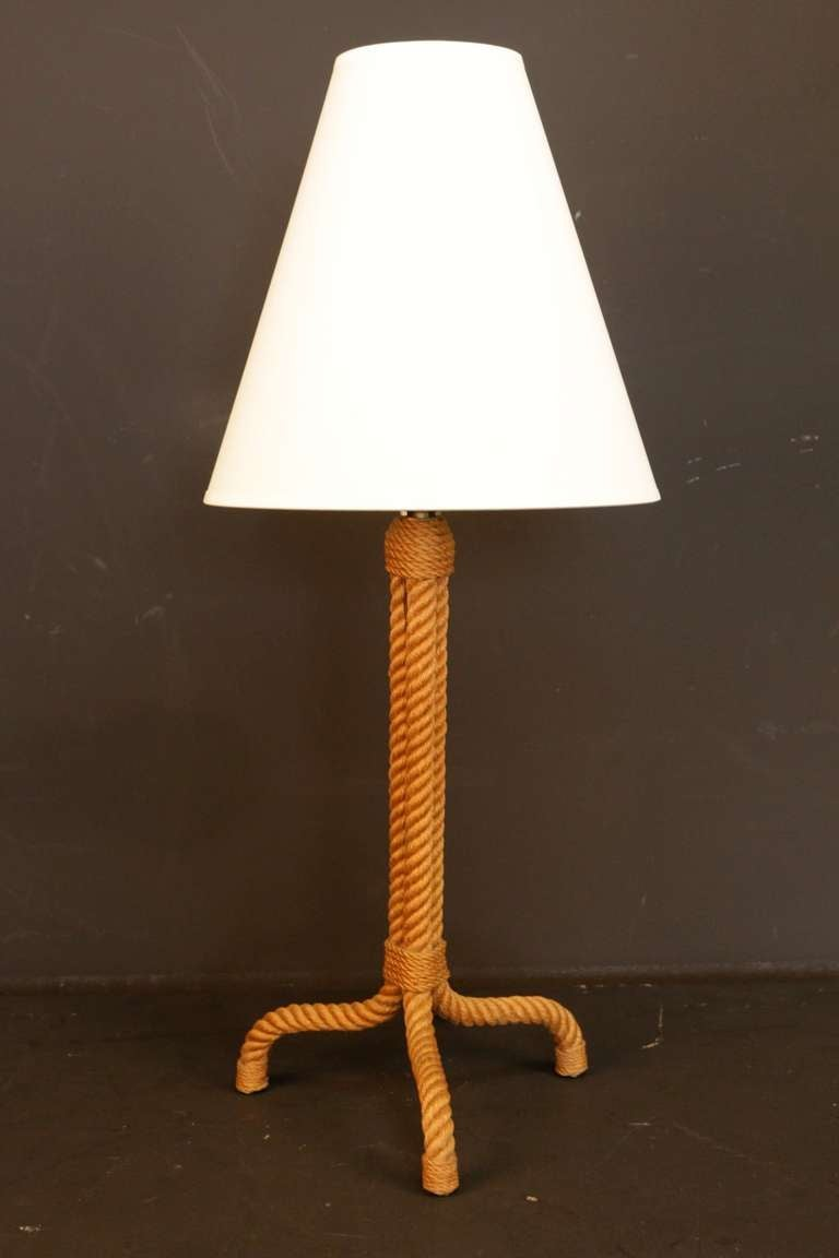 1950 39 s rope table lamp by adrien audoux and frida minet. Black Bedroom Furniture Sets. Home Design Ideas