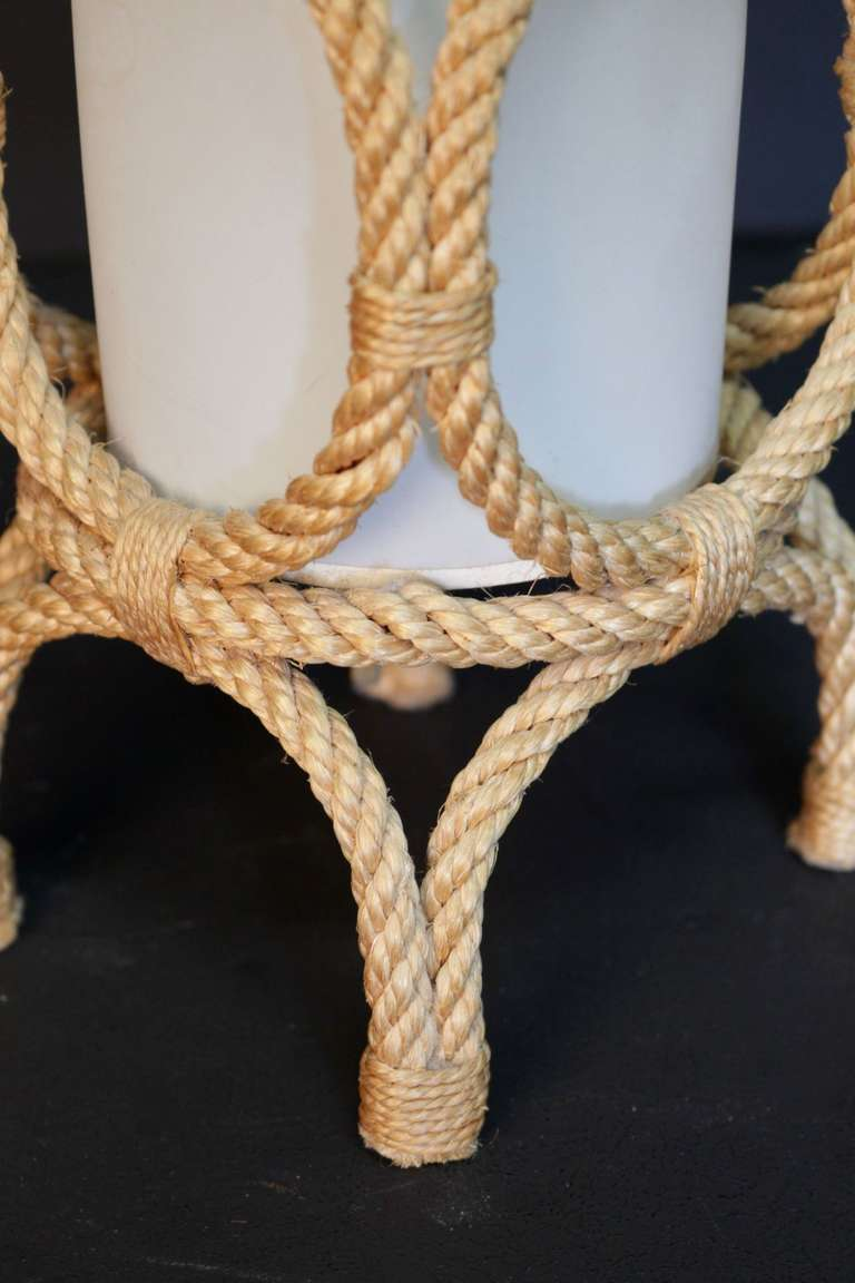 French 1950's Rope Lantern Table Lamp by Adrien Audoux and Frida Minet For Sale