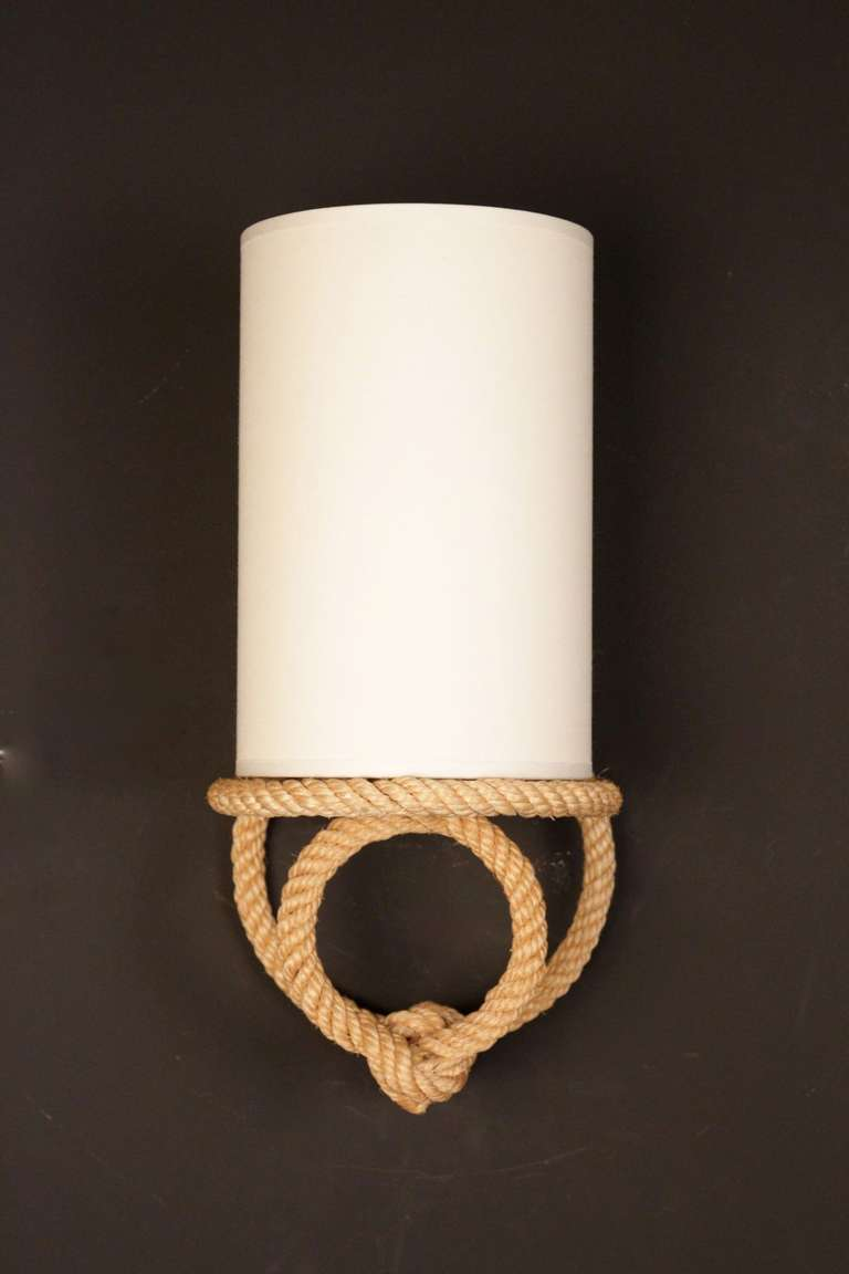 Pair of 1950s Rope Sconces by Adrien Audoux and Frida Minet at 1stdibs