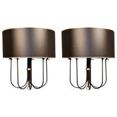 Large Pair of 1950s 'Buckle' Sconces by Maison Lunel