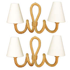 Pair of 1950's Rope Sconces by Adrien Audoux and Frida Minet