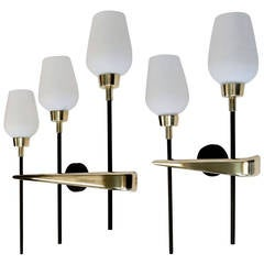 Set of Three 1950s Sconces by Maison Lunel