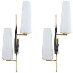 Large Pair of Asymmetrical Sconces by Maison Arlus, 1950