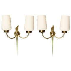 Pair of 1950s Bronze Sconces by Maison Arlus