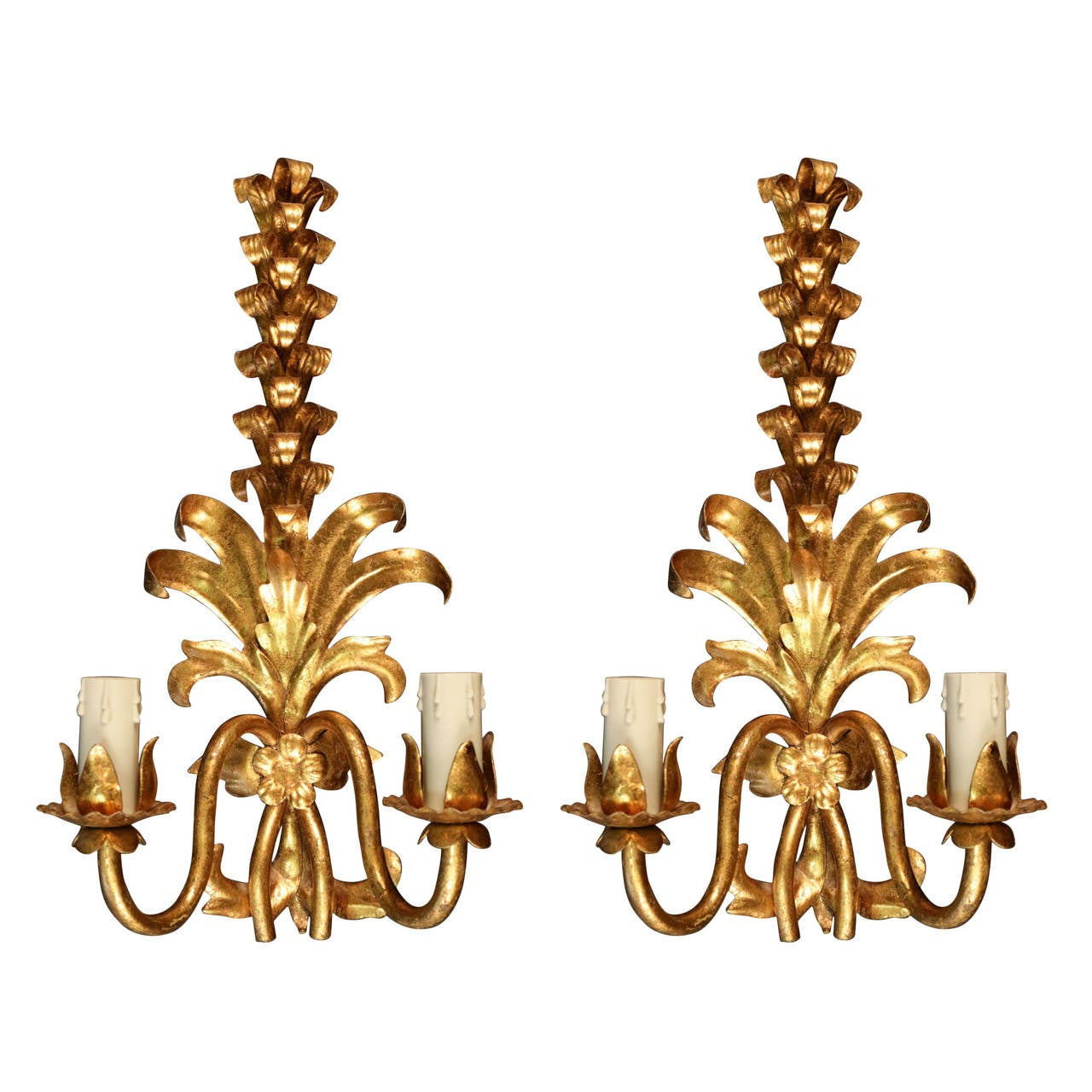 Wall Sconces With Plants : Pair of 1970s Plant Sconces by Maison FlorArt For Sale at 1stdibs