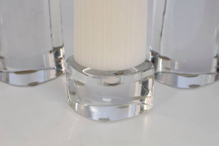 Set of Three 1970s Cristal Candleholders, Signed by Daum In Good Condition For Sale In Saint-Ouen, FR