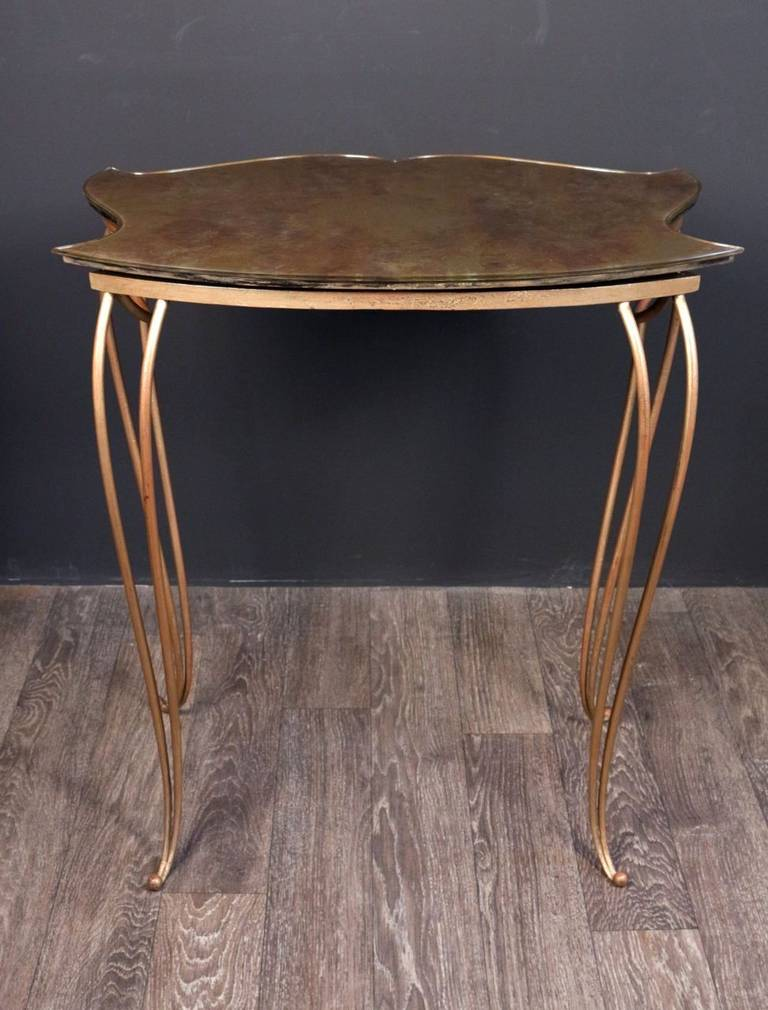 Glass 1940s Console by Rene Drouet