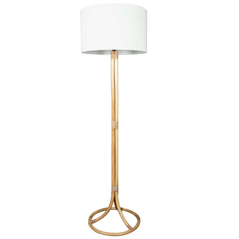1950 Louis Sognot Rattan Floor Lamp