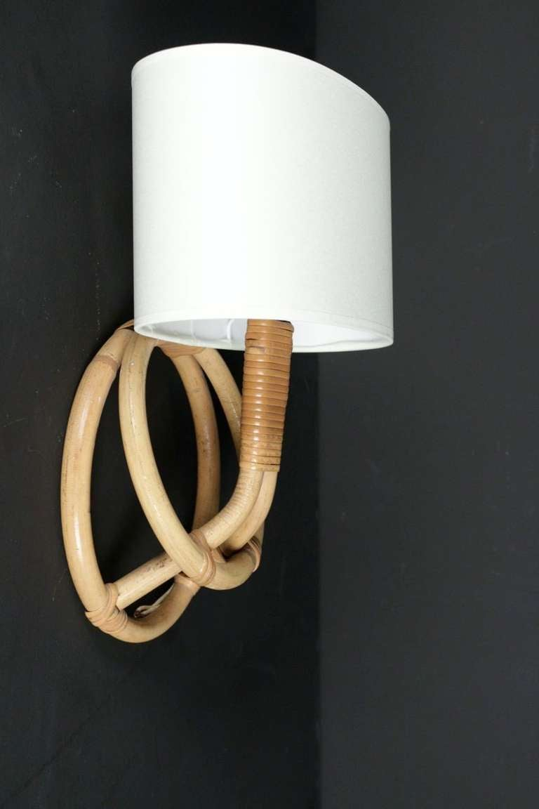 1950 S Pair Of Rattan Sconces By Louis Sognot At 1stdibs