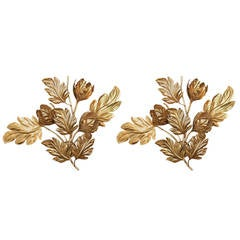 Large Pair of 1960s Flower Sconces by Maison FlorArt