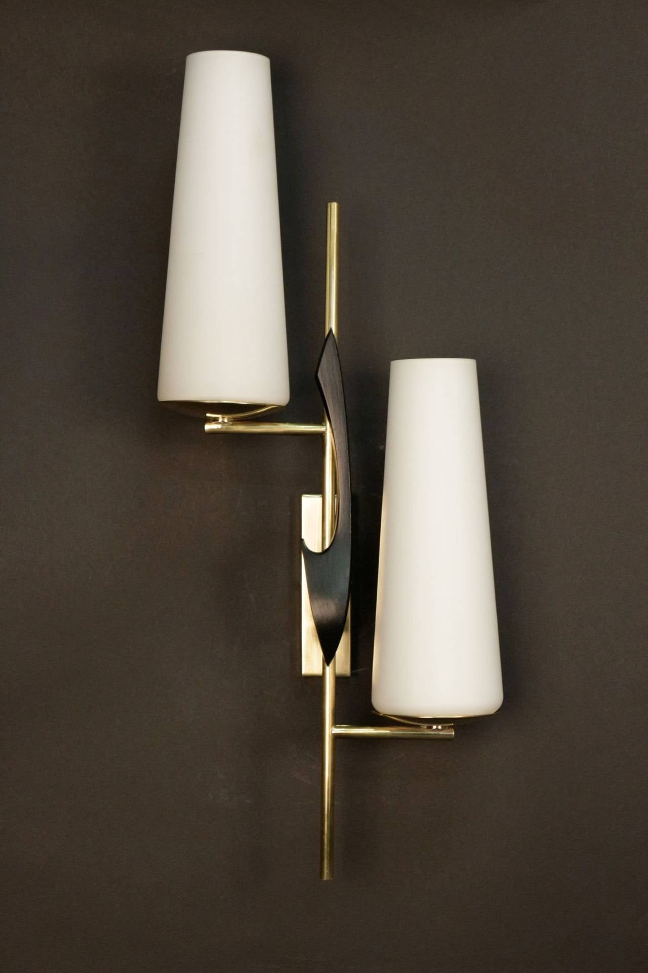 Pair Of 1950s Asymmetrical Sconces By Maison Arlus At 1stdibs