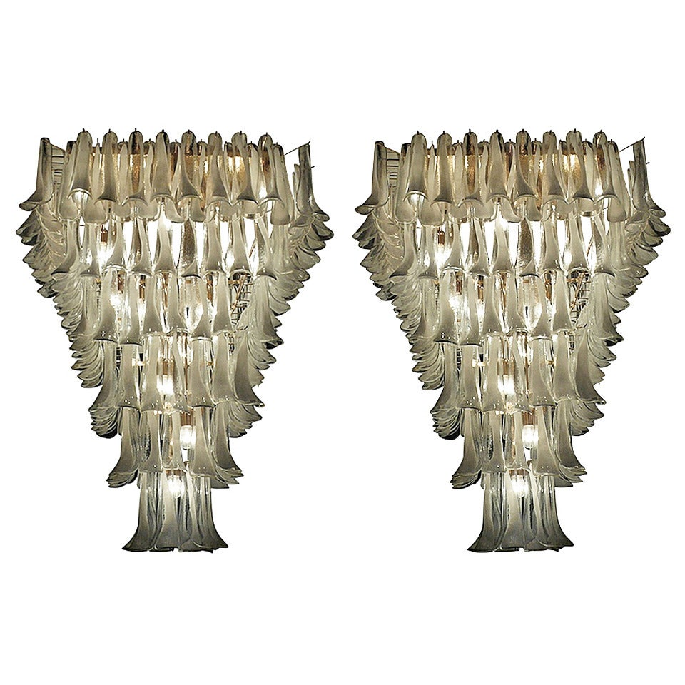 Pair of Majestic Flush Mount Petal Murano Chandeliers