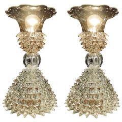 Magnificent Pair of Ercole Barovier Lamps, 1940