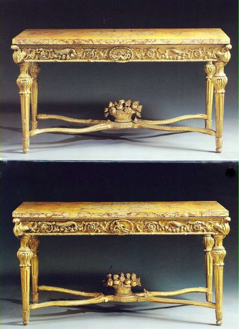 Fine Pair Of Italian 18th Century Carved Giltwood Console Tables 2
