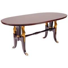 Extraordinary Massive Mahogany Table in the Style of Paolo Buffa, 1950s