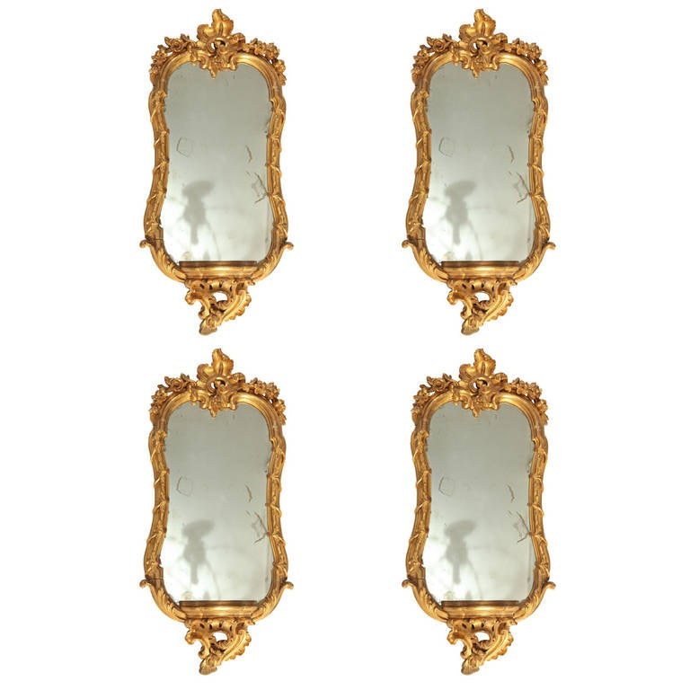 Fine Set of Four 18th Century Roman  Giltwood Mirrors For Sale