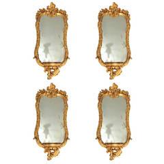 Fine Set of Four 18th Century Roman  Giltwood Mirrors