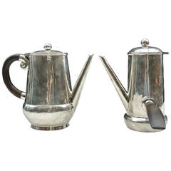 William Spartling Tea and Coffee Silver Handled Kettle Set