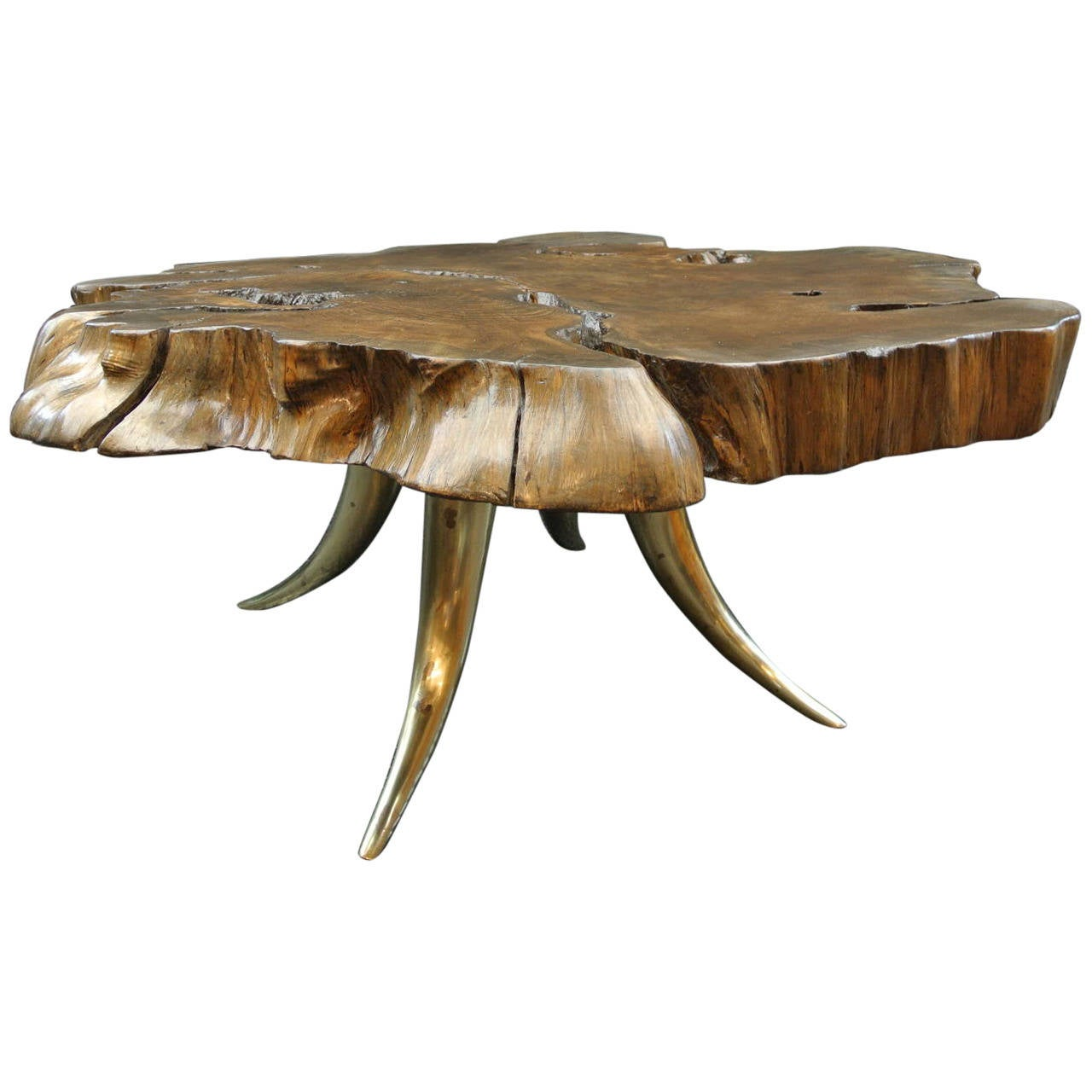 Coffee Table With Bronze Legs: Organic Table With Bronze Legs At 1stdibs