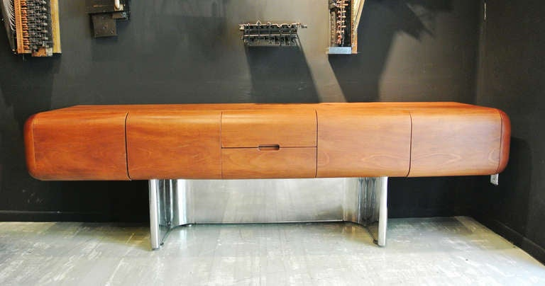 M.F. Harty for Stow Davis Walnut And Stainless Steel Credenza image 2