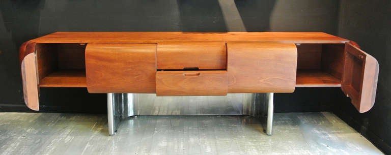 M.F. Harty for Stow Davis Walnut And Stainless Steel Credenza image 3