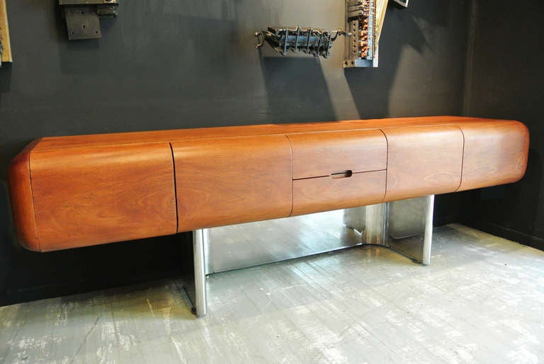 M.F. Harty for Stow Davis Walnut And Stainless Steel Credenza image 5