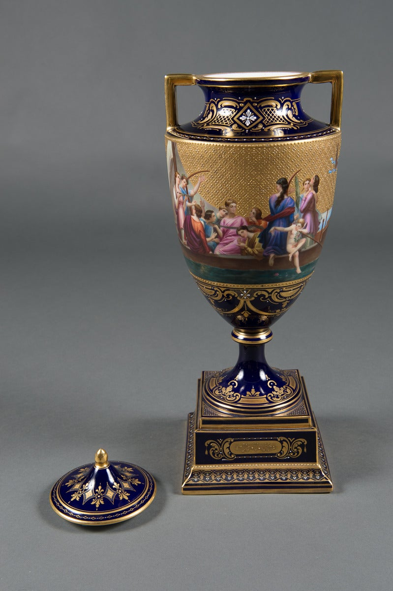A Very Fine 19Th Century Austrian Royal Vienna Lidded Vase For Sale At 1Stdibs-4387